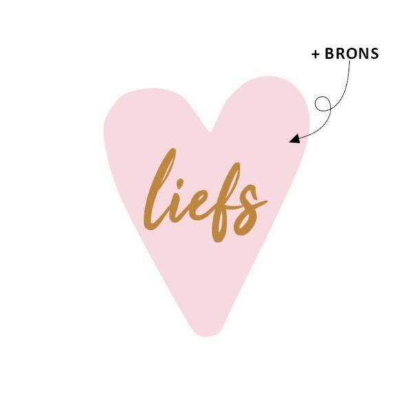 Stickers hartjesvorm, Roze met brons / koper `Liefs` ( per 10 stuks )