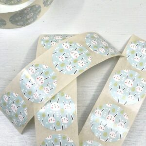 Stickers, rond 35 mm Konijntjes Bunny ( per 10 stuks )