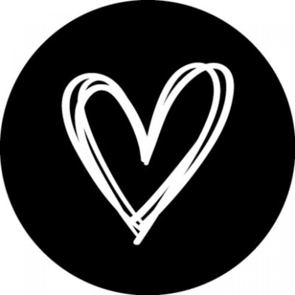 Stickers, rond 35mm, Heart , zwart met wit hart ( per 10 stuks )