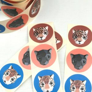 Stickers, rond 50mm `Jaguar` Panter : leopard ( per 10 stuks assorti )