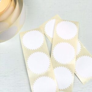 Stickers, rond 50mm kartelrandje Effen Wit ( per 10 stuks )