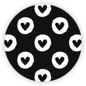 Stickers, rond meerdere hartjes zwart met wit, per 10 stuks