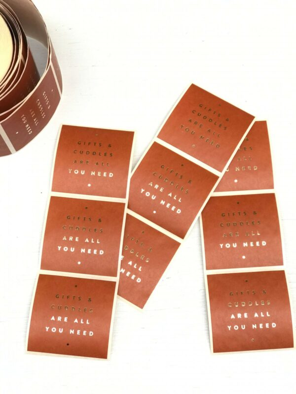 Stickers, vierkant 50mm, Gifts and Cuddles, Rust Gold ( per 10 stuks )