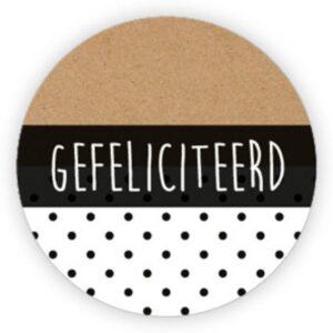 Stickers, zwart wit stipjes : kraft , gefeliciteerd, per 10 stuks