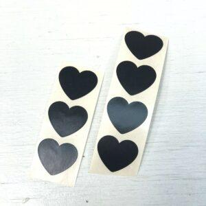 Stickertje, hart 20mm, Mat zwart ( per 10 stuks )