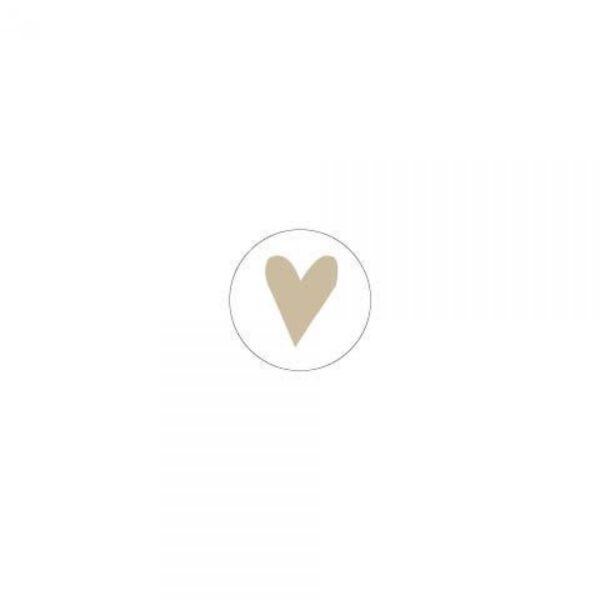 Stickertje, rond 26mm, Wit met goud hartje ( per 10 stuk )