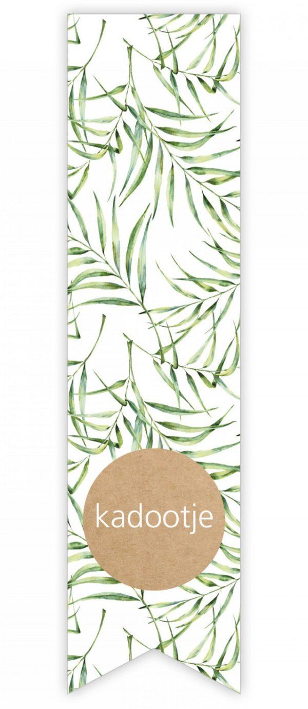 X- Sticker LANG Blad botanisch groen kraft ` Kadootje ` per 5 stuks