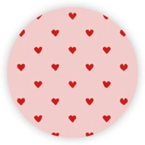 X- Stickers roze met rode kleine hartjes, per 10 stuks